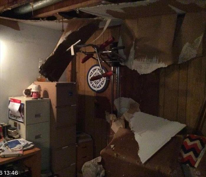 Collapsed Ceiling in basement from 3 floor leak